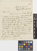 Letter from Daniel F.[Florence] O'Leary to Sir William Jackson Hooker; from British Legation, Bogota, [Colombia]; 13 Dec 1850; two page letter comprising two images; folio 281