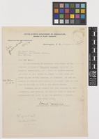 Letter from David [Grandison] Fairchild to Sir David Prain; from United States Department of Agriculture, Bureau of Plant Industry, Washington, D.C., [United States of America]; 6 Nov 1914; one page letter comprising one image; folio 328