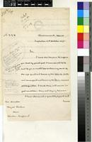 Letter from Thomas Risely Griffith, Administrator of the Seychelles to Sir William Thiselton-Dyer; from Government House, Seychelles; 12 Oct 1893; two page letter comprising two images; folio 277