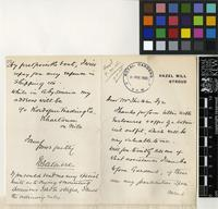 Letter from Sir William Forbes Gatacre to Sir William Thiselton-Dyer; from Hazel Mill, Stroud; 1905; four page letter comprising two images; folio 53