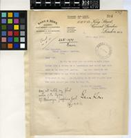 Letter from Barr and Sons to Sir David Prain; from King Street, Covent Garden, London; 17 Aug 1921; One page letter comprising one image; folio 314
