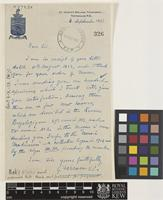Letter from G.[Georges] Foreau to Sir Arthur William Hill; from St Joseph's College, Trichinopoly, Teppakulam P.O. [Tiruchirappalli, India]; 4 Sep 1923; one page letter comprising one image; folio 326