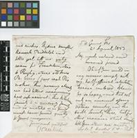 Letter from N.[Nathaniel] Wallich to Sir William Jackson Hooker; from 5 Upper Gower Street, [London, England]; 21 Apr 1853; four page letter comprising two images; folio 418