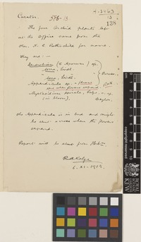 Letter from Robert Allen Rolfe to William Watson; from the Royal Botanic Gardens, Kew; 6 Nov 1913; one page letter comprising one image; folio 138