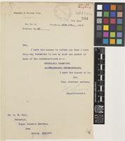 Letter from H. Green to Sir Arthur William Hill; from Botanical and Forestry Department, Hong Kong, [China]; 15 Jan 1923; one page letter comprising one image; folio 244
