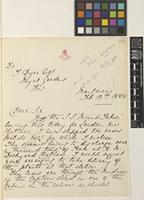 Letter from G. Peché to Sir William Thiselton-Dyer; from Moulmein [Mawlamyine, Burma]; 19 Feb 1885; two page letter comprising two images; folios 215 – 216 Burma
