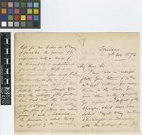 Letter from H.[Henry] Prestoe to The Royal Botanic Gardens, Kew; from Trinidad; 7 Nov 1876; eight page letter comprising four images; folios 486 - 487