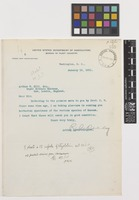 Letter from R.A. Oakley to Sir Arthur William Hill; from United States Department of Agriculture, Washington, D.C., [United States of America]; 12 Jan 1911; one page letter comprising one image; folio 355