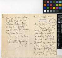 Letter from Lady Clementine Redesdale to Sir David Prain; from Batsford Park, Moreton-In-Marsh; 30 March 1906; four page letter comprising two images; folio 101