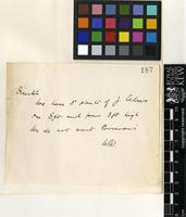 Letter from William Watson to Sir David Prain; from the Royal Botanic Gardens Kew; c.1908; one page letter comprising one image; folio 187