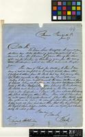 Letter from C. Barter to Consul Hutchinson; from Clarence, Fernando Po; 27 June; two page letter comprising two images; folio 44