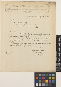 Letter from A.[August] Loher to Otto Stapf; from Hotel Kronprinz, Zweigstrasse 10, Munich, [Germany]; 18 July 1910; one page letter comprising one image; folio 425
